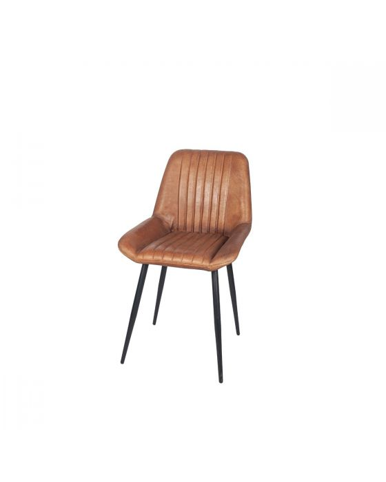 Industrial Vintage Brown Leather and Iron Dining Chair