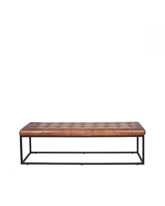 Industrial Vintage Brown Leather & Iron Buttoned Bench