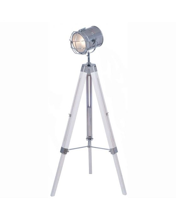 Industrial White Wash and Silver Metal Tripod Floor Lamp
