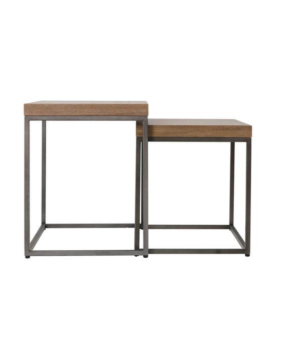 Irina Aged Grey Nest of 2 Tables