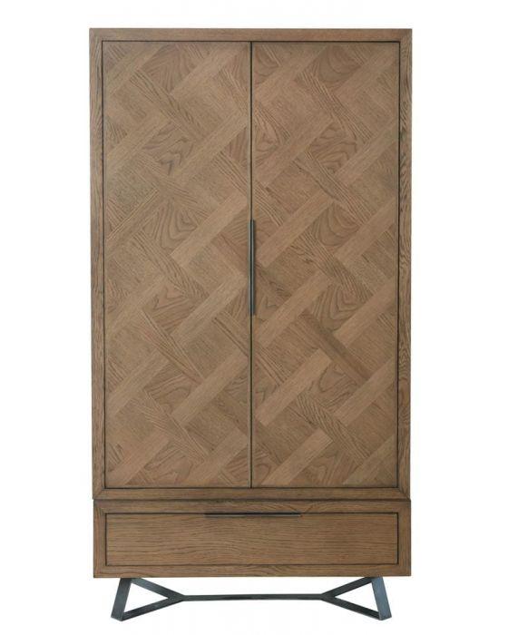 Irina Brown and Grey Patterned 2 Door Wardrobe
