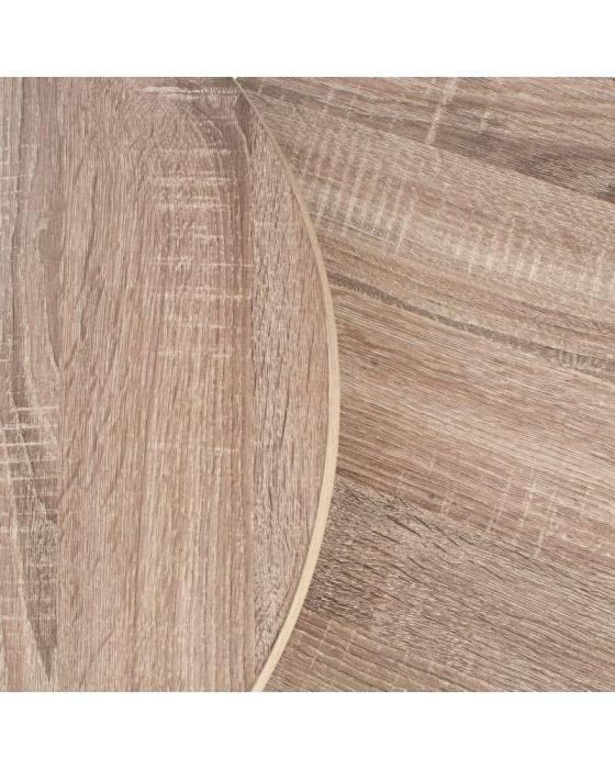 Jai Industrial Wood and Black Metal Set of 2 Round Side Tables