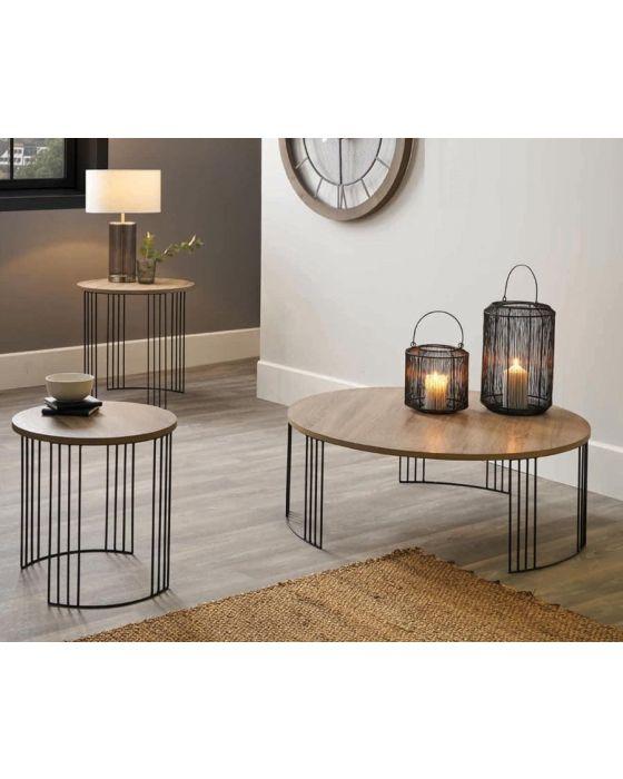 Jai Industrial Wood and Black Metal Round Coffee Table