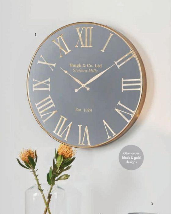 Justin Antique Gold & Black Metal Round Wall Clock