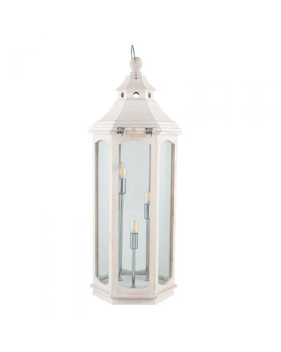 Large Industrial 3 Light White Wood Grey Floor Lamp Lantern