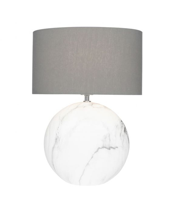 Large White Marble Effect Ceramic Table Lamp