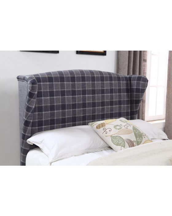 Lila Fabric Bed Frame - Grey Cheque Headboard