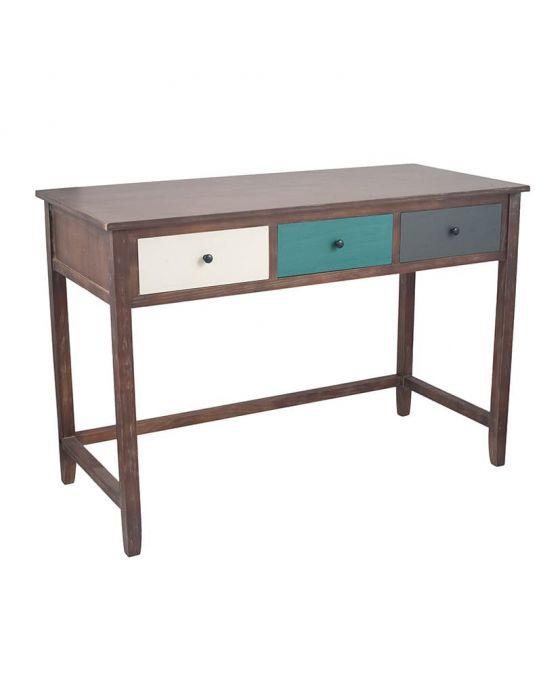 Loft Pine Wood Multicoloured 3 Drawer Home Desk