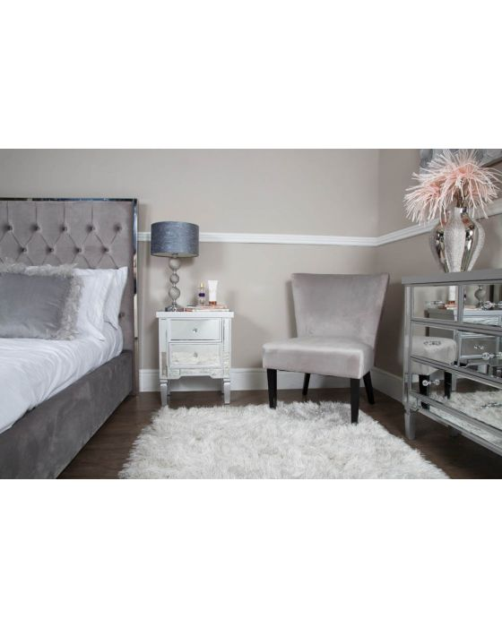 Maria Silver Wood and Mirrored 4 Drawer Chest