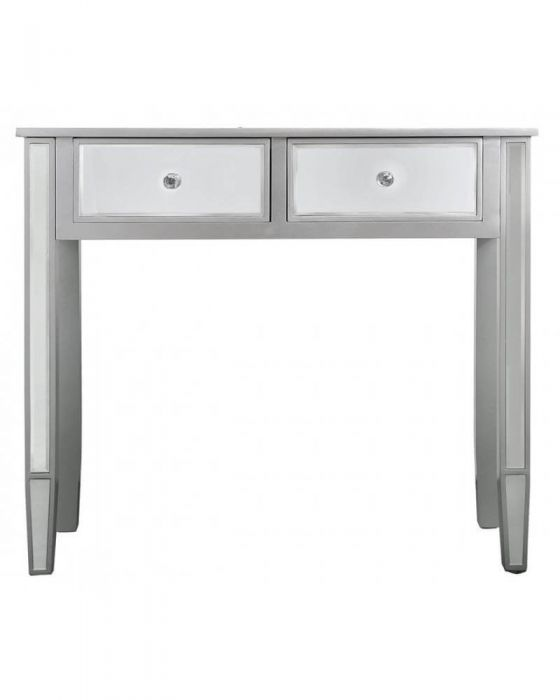 Maria Silver Wood and Mirrored Console Table with 2 Drawers