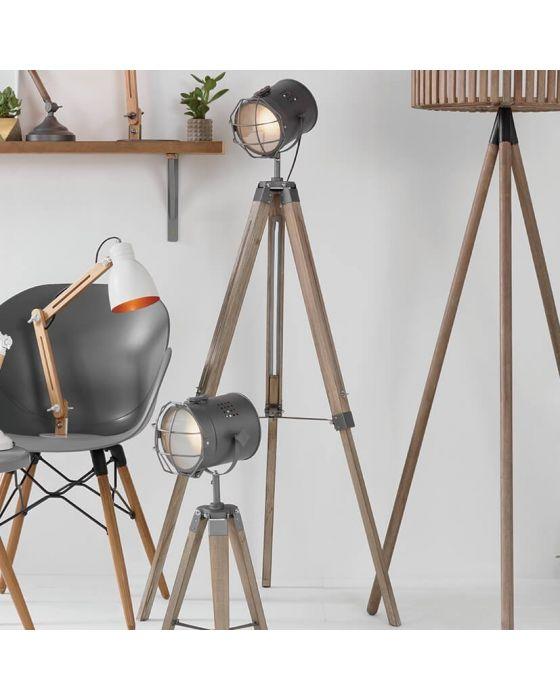 Marine Rustic Wood and Metal Tripod Table Lamp