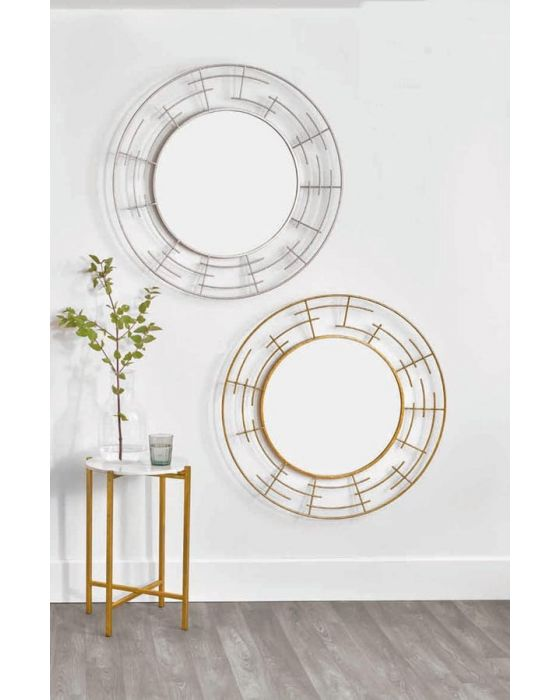 Marion Gold Metal Frame Round Wall Mirror