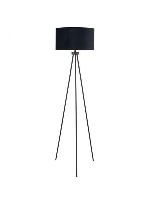 Matt Black Tripod Floor Lamp With Black Velvet Shade