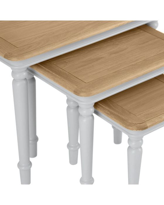Mendes Soft Grey Nest Of 3 Tables