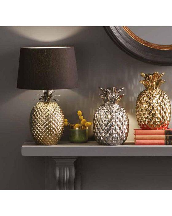 Metallic Gold Ceramic Pineapple Table Lamp