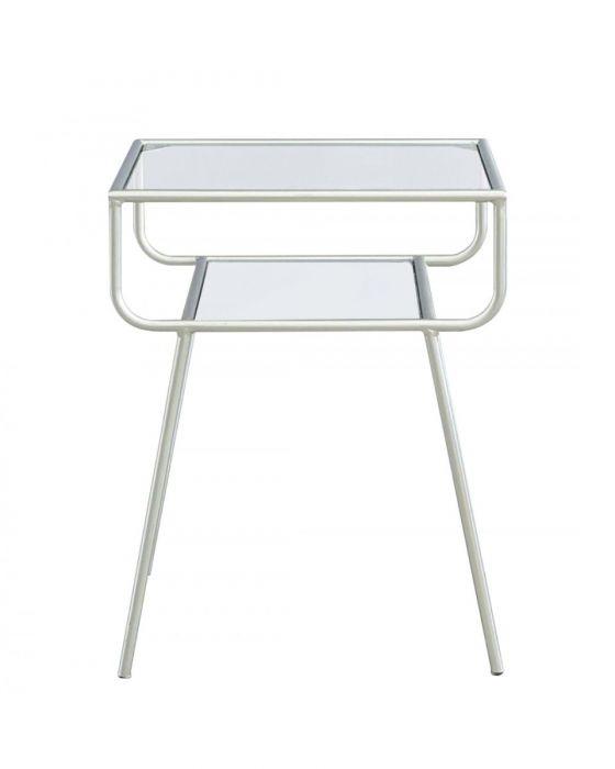 Mia Metal Side Table Silver/Glass
