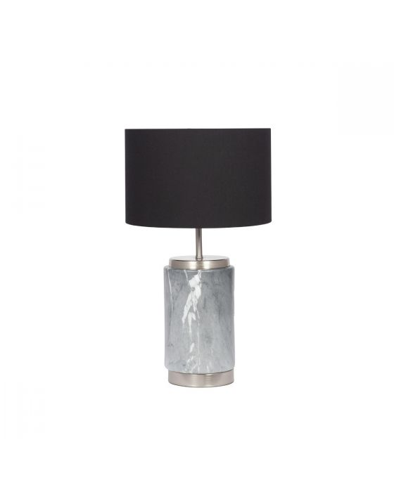 Mini Grey Marble Effect Ceramic Table Lamp with Black Shade