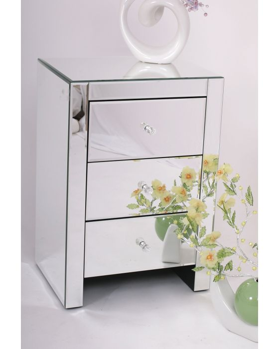 Mirrored 3 Drawer Bedside