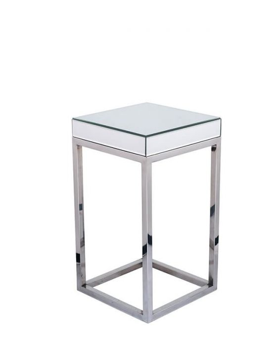 Mirrored & Metal Square Side Table