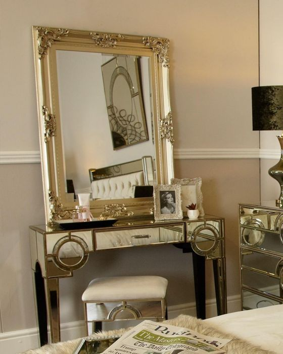Mirrored Antique Gatsby 1 Drawer Console Table