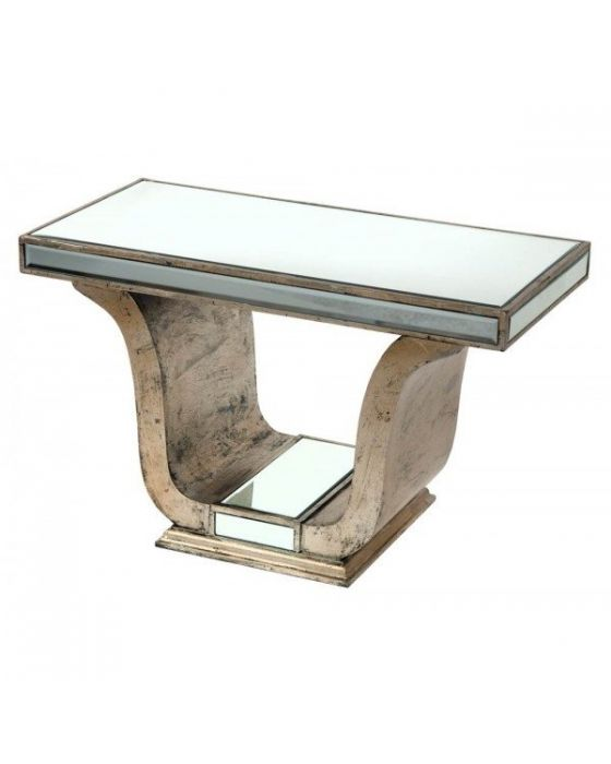 Mirrored Antique Silver Old Venetian Coffee Table