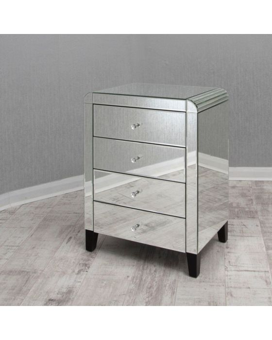 Mirrored Bedside Chest with Bevelled Edge