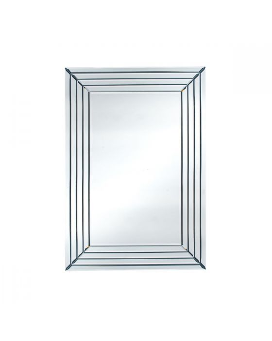 Mirrored Glass Art Deco Rectangular Wall Mirror