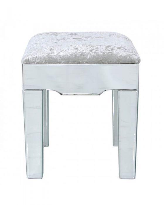 Mirrored Quatrefoil Designed Stool with Velvet Seat