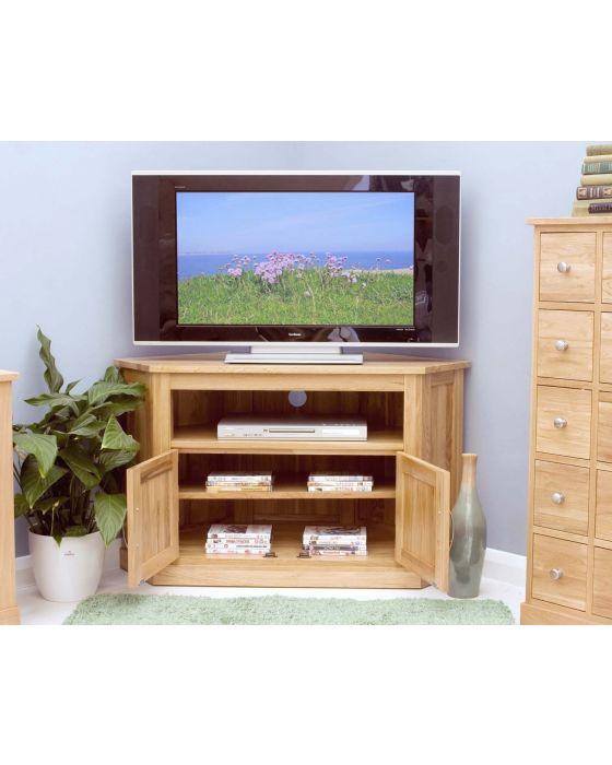 Modern Light Oak Corner Television Cabinet