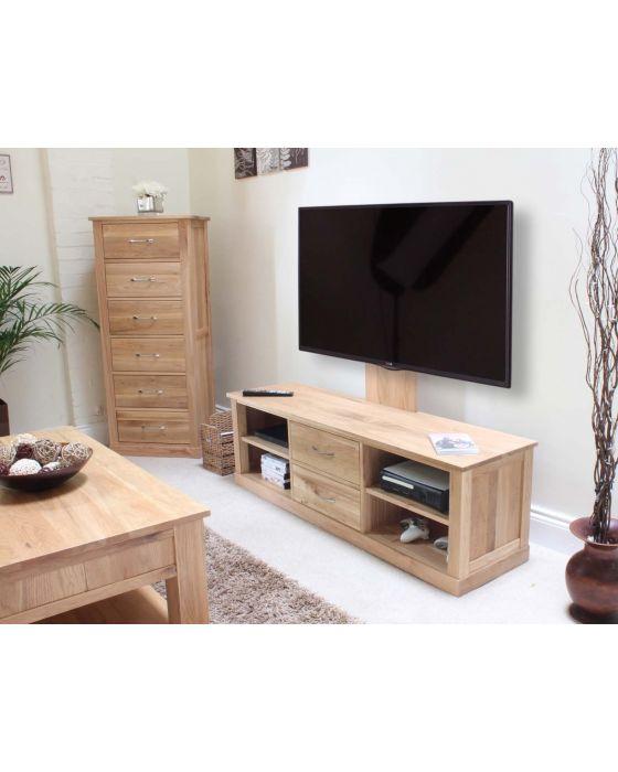 Modern Light Oak Mounted Widescreen Television Cabinet
