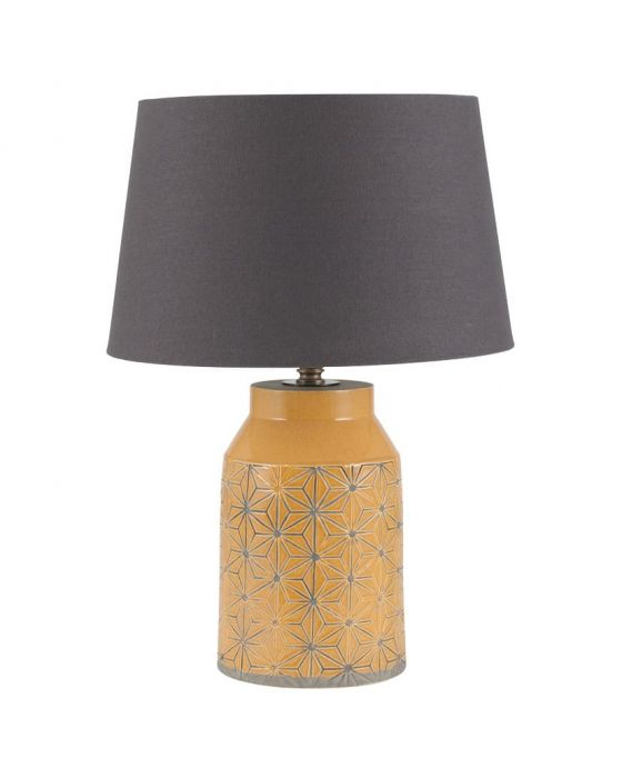 Mustard Starburst Etch Detail Table Lamp - Base Only