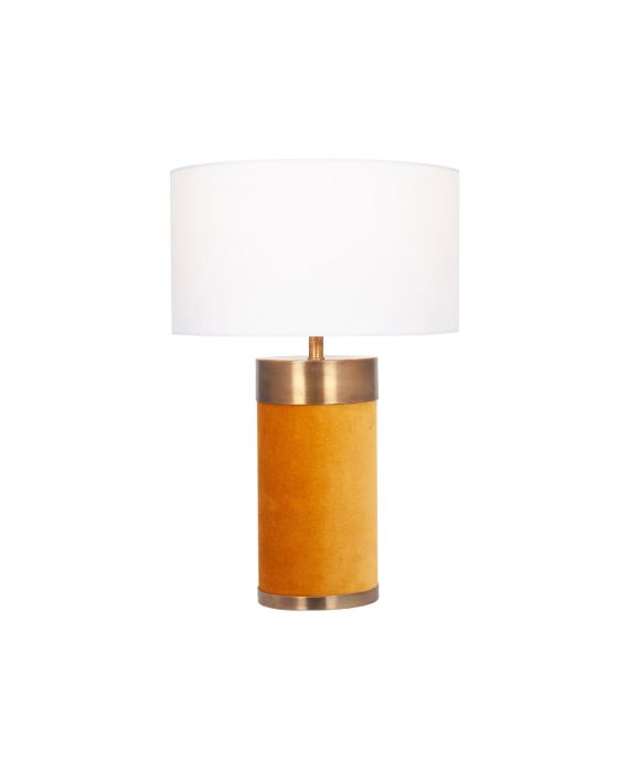 Mustard Velvet and Antique Gold Metal Table Lamp - Base Only