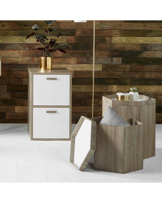 Natural and White Wood Hexagon Storage Box Large