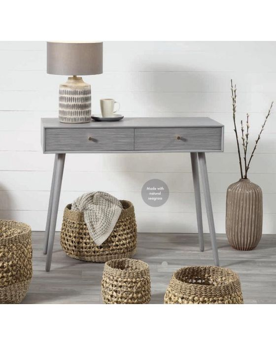 Natural Seagrass Set of 3 Round Baskets