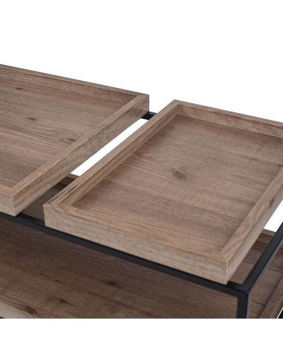 Natural Wood Veneer and Black Metal Tray Style Coffee Table