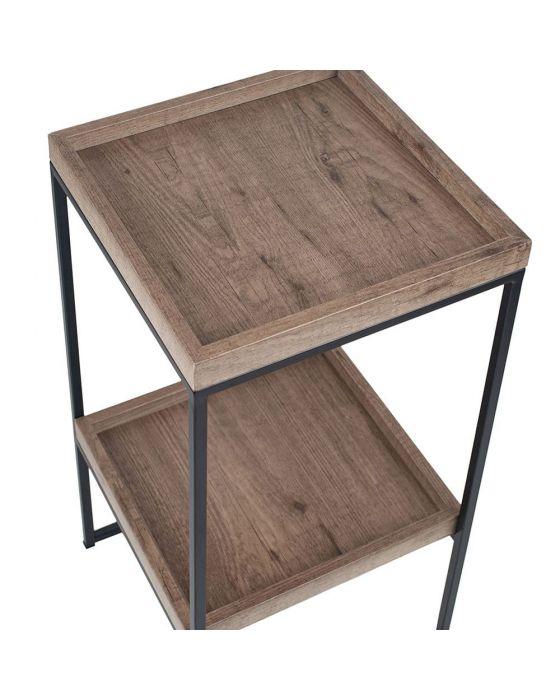 Natural Wood Veneer and Black Metal Tray Style Side Table