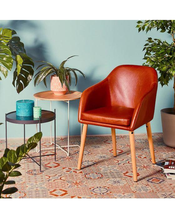 Nea Tan Brown Leather Effect Armchair