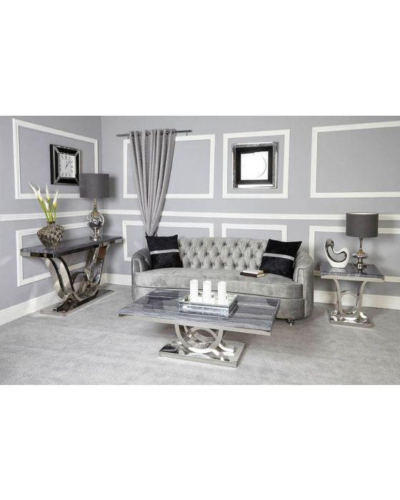 Neptune Grey Marble Console Table
