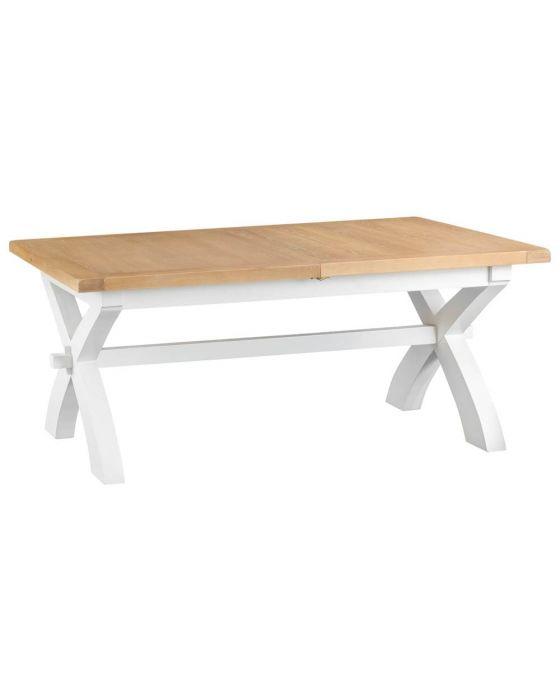 Newholme White Cross Leg Extending Table