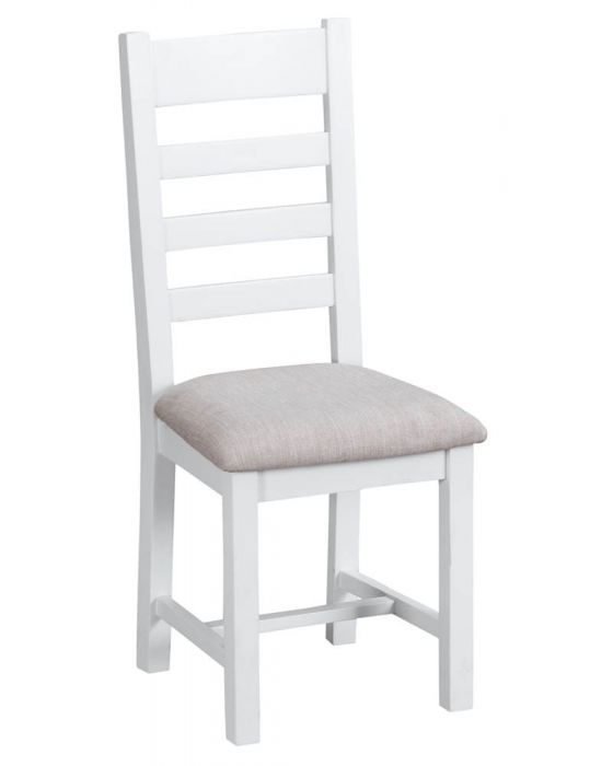 Newholme White Ladder Back Chair Fabric - Box of 2