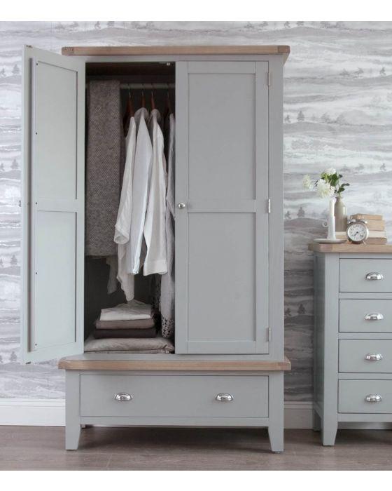 Newsome Grey Oak Large 2 Door Wardrobe