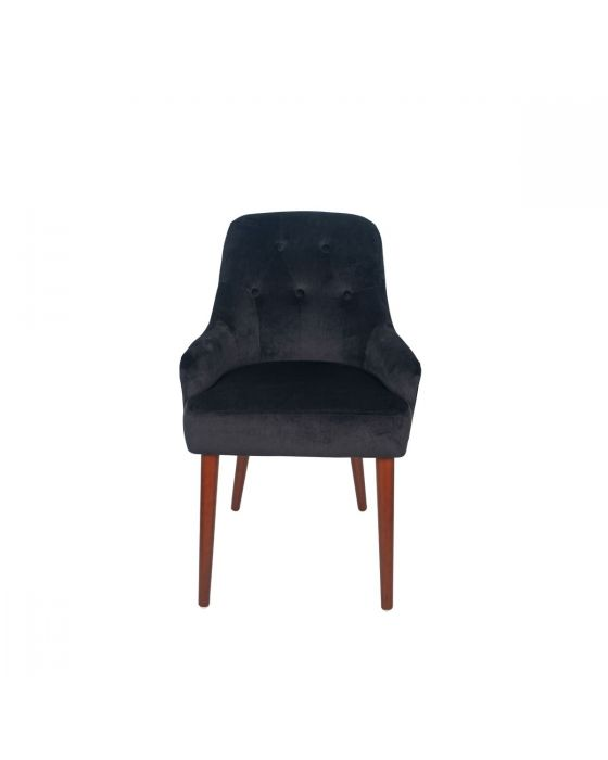 Nicu Black Velvet Armed Tufted Dining Chair Walnut Finished Legs