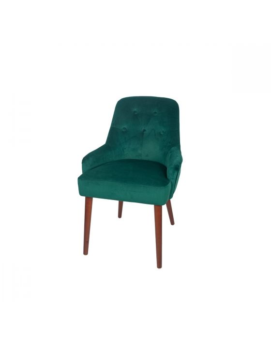 Nicu Forest Green Velvet Tufted Dining Chair Walnut Finished Legs