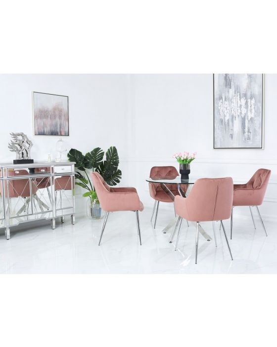 Nora 100cm Round Glass Dining Set with Pink Chairs