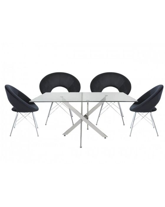 Nora 160cm Rectangular Dining Set with 4 Black Chairs