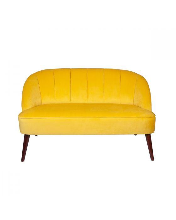 Ochre Yellow Velvet Sofa with Walnut Painted Legs