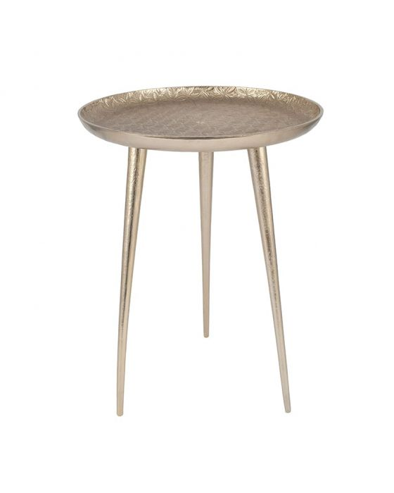 Odelo Metal Embossed Tripod Table in Silver, Brass or Gold