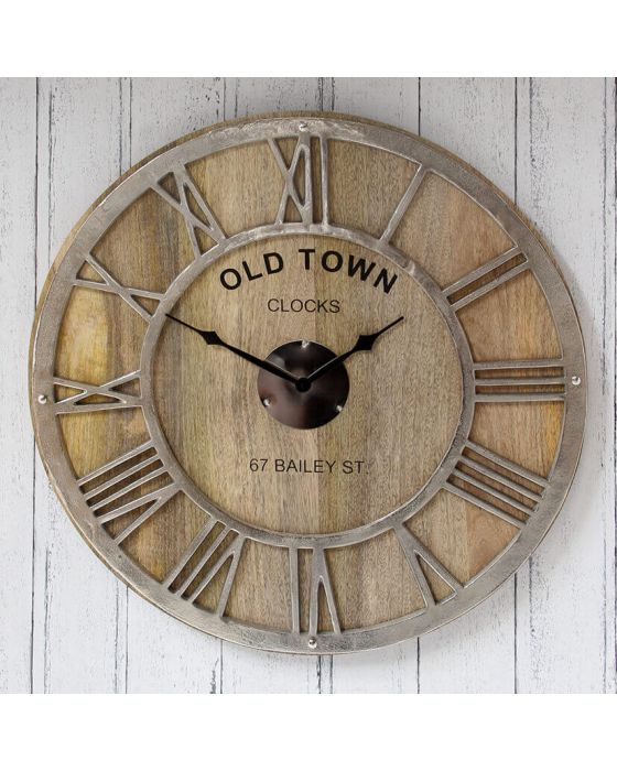 Old Town Mango Wood and Nickel Round Wall Clock