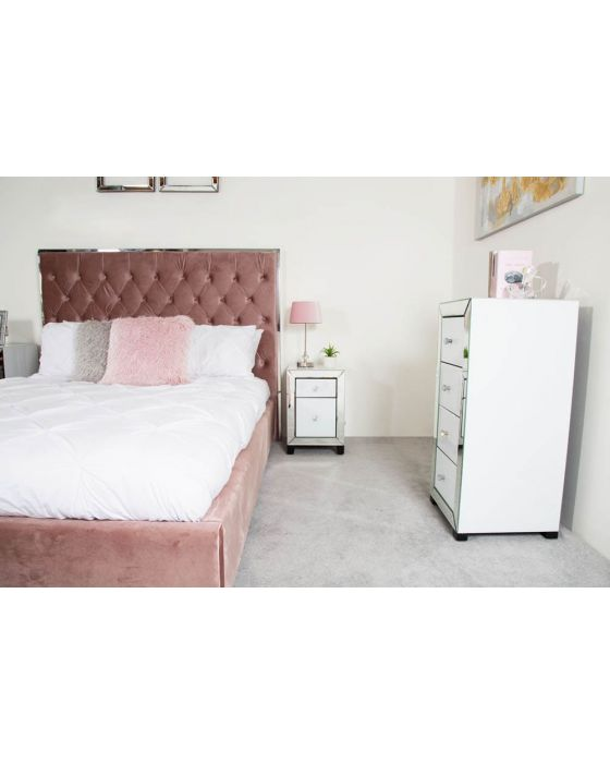 Olivia Mirror Glass White Bedside Cabinet