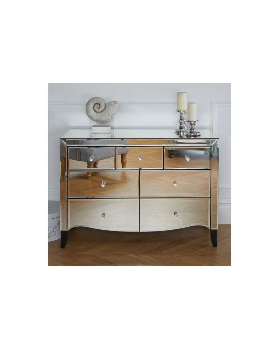 Palma Mirrored Large 7 Drawer Chest